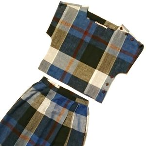 VTG Blue Black Plaid Pleated Skirt Crop Top Set